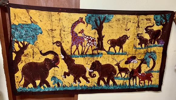 Large African Animal Scene  Batik Wall Hanging