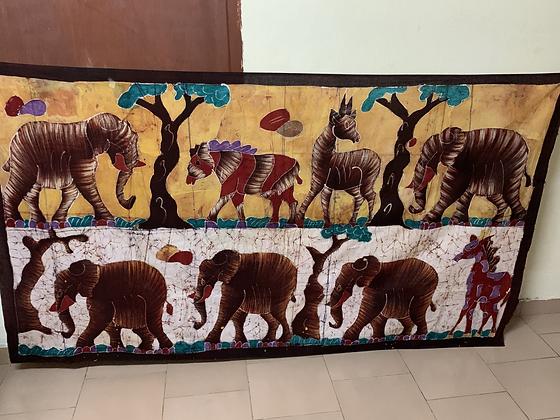 Large African Elephant Scene  Batik Wall Hanging