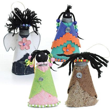 Handmade Paper Doll Ornaments