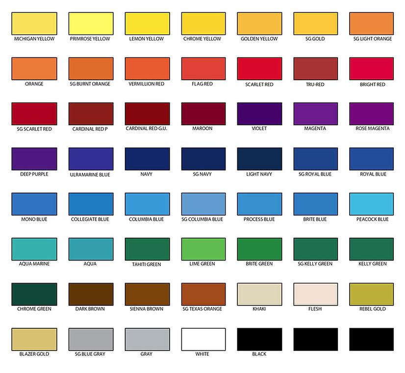 Seattle Print Shop standard ink colors.