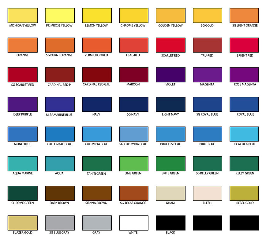 Seattle Print Shop standard ink colors.