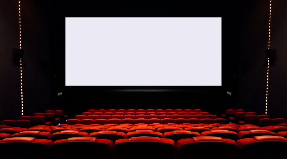 Empty cinema seats with blank white scre