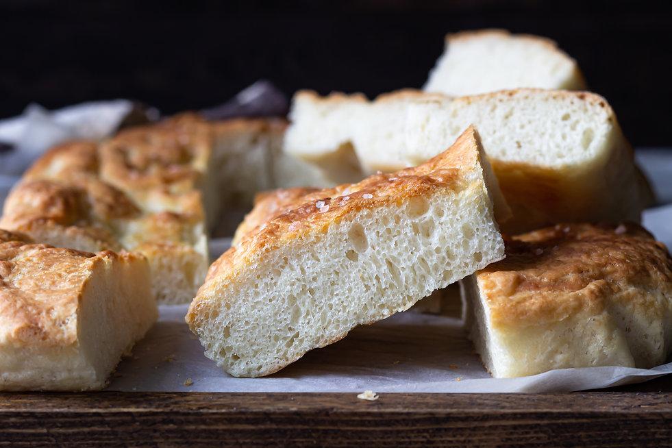 Traditional Italian focaccia bread with