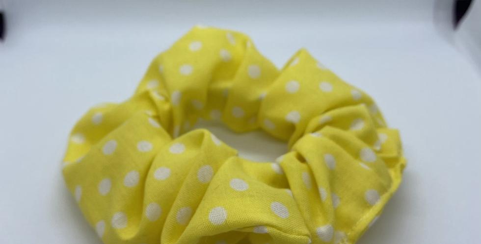 Yellow Polkadot Scrunchie