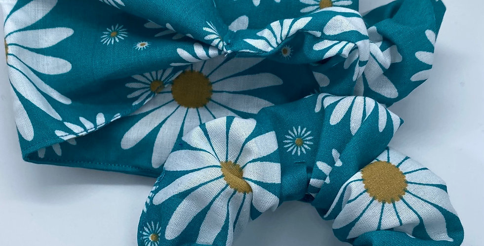 Blue Daisy Headband & Scrunchie Set