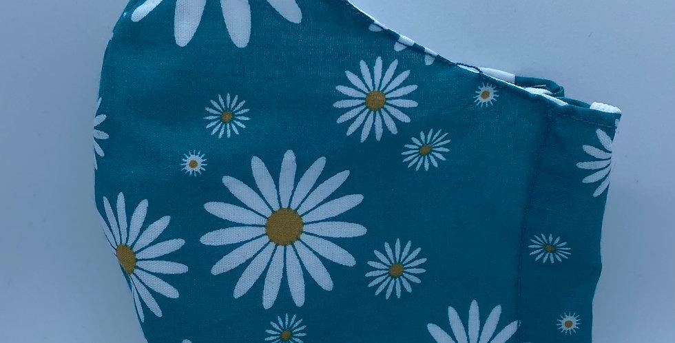 Blue Daisy Mask Headband & Scrunchie Set