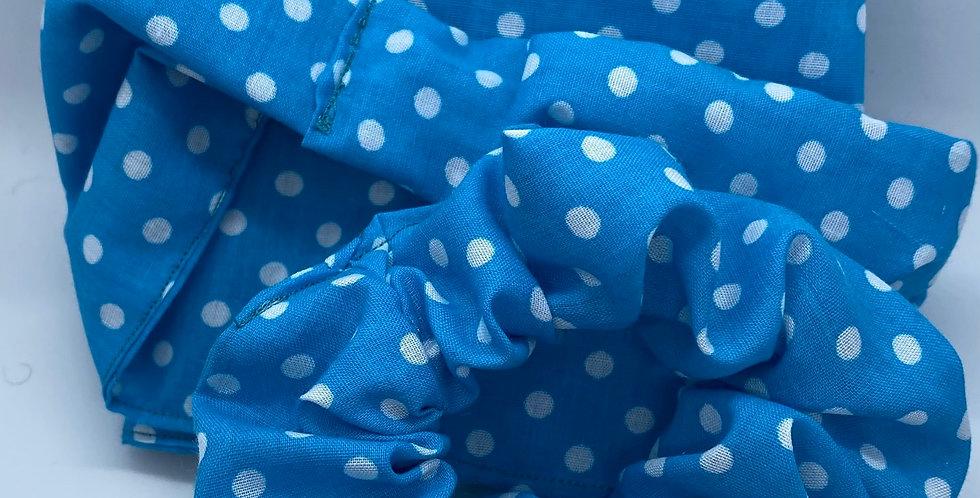 Blue Polkadot Headband & Scrunchie Set