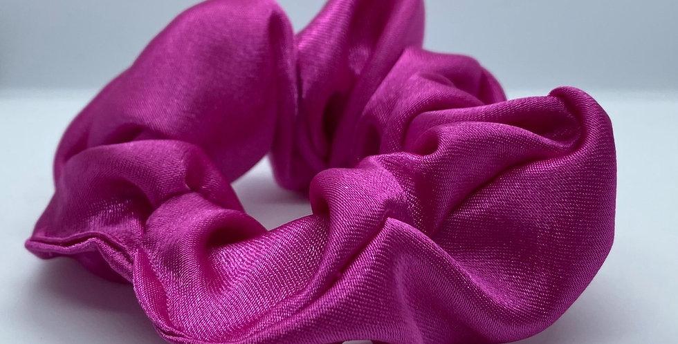 Deep Pink Satin Scrunchie