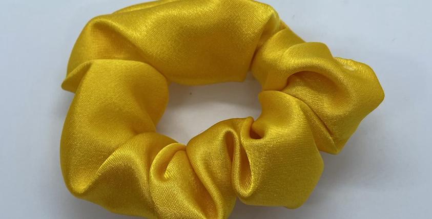Yellow Satin Scrunchie