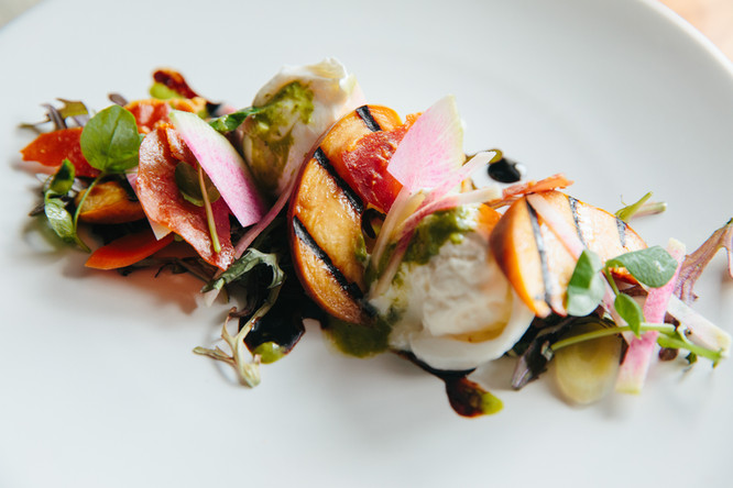 Grilled Peach and Burrata Salad with Crispy Prosciutto