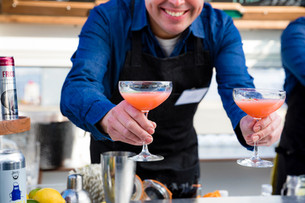 Strawberry Basil Martinis for two Olive