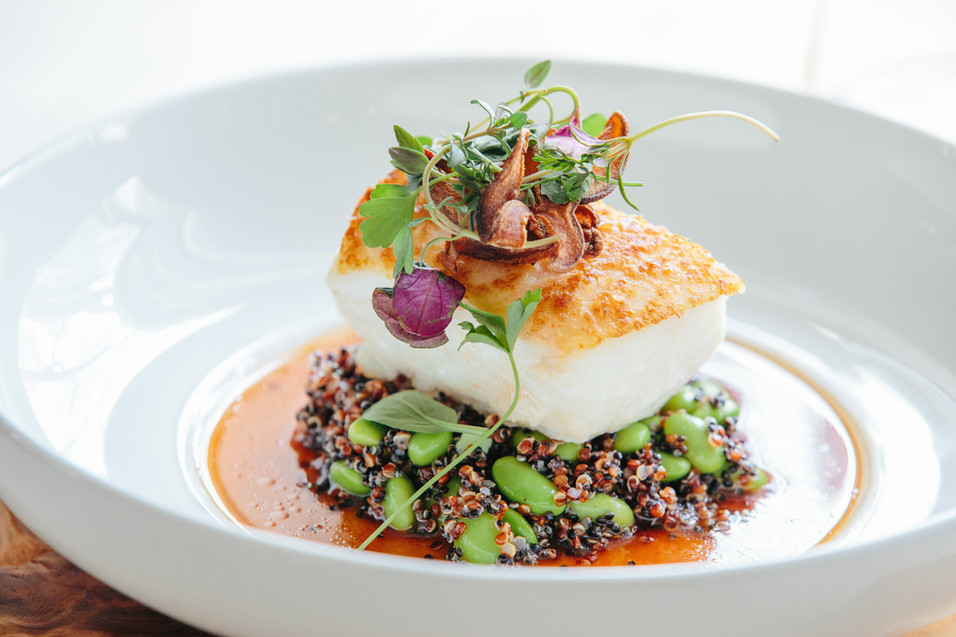 Pan Roasted Halibut with Black Quinoa, Edamame, and Whisky Barrel Shoyu
