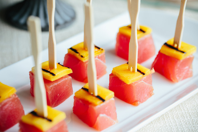 Yellow Fin Tuna and Mango Cube Hors D'Ouevres