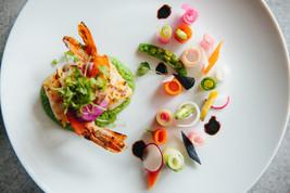 Summer Vegetable Garden with Grilled Colossal Shrimp