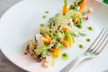 Rhubarb Painted Spring Baby Vegetables with Westfield Farms Goat Cheese Crema