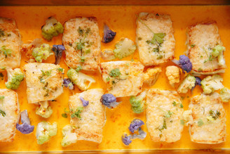 East Coast Halibut with Roasted Cauliflower and Saffron Vin Blanc
