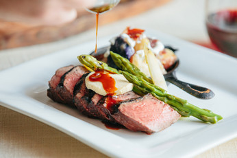 Grilled Sirloin Steak with Foie Gras Butter and Tartiflette