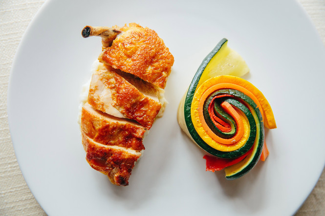 Pan-Roasted Locally Sourced Organic Chicken with Provencal Vegetables and Butter Potato Puree
