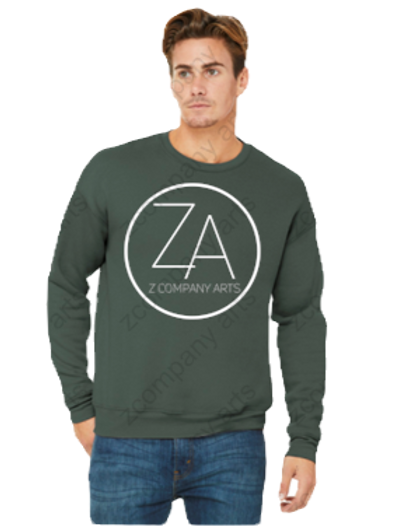 ZA Military Green Crewneck Sweatshirt (white logo)