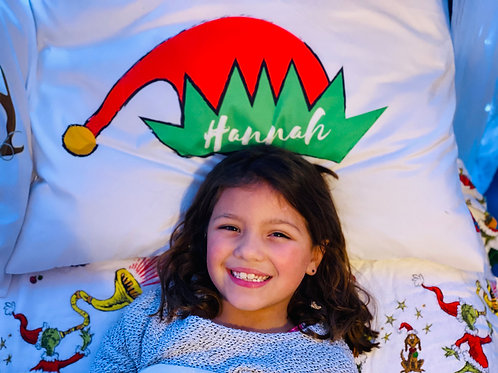 Elf Hat Personalized Pillow Case