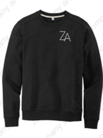 ZA Black Crew Sweatshirt Front & Back Design