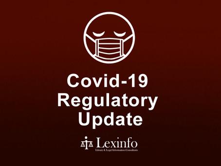 Covid-19 Regulatory Update: 8 - 14 September 2021