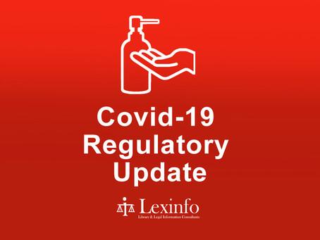 Covid-19 Regulatory Update: 29 September 2021 to 5 October 2021