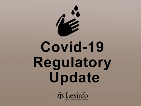 Highlights from the Lexinfo Covid-19 Regulatory Updates: 2 – 9 November 2020