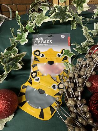 Set of 3 Tiger Zipper Bags