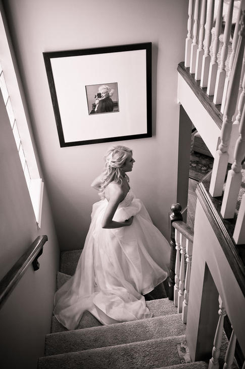 Bride leaving home for the church