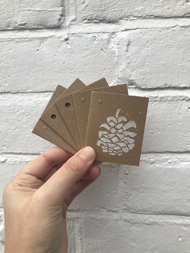 "Pack of 5 ""Pine Cone"" Gift Tags"
