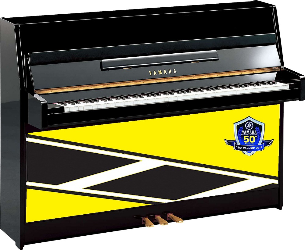 A dumb photoshop of the non existent Yamaha 50th Anniversary piano.
