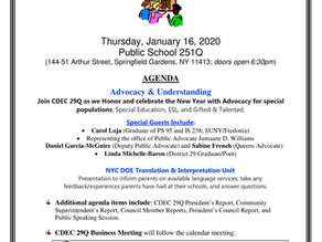 CDEC 29Q Calendar & Business Meeting Notice - Jan 16th @ PS 251Q