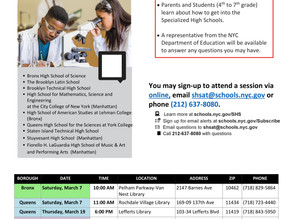 Specialized High School - Admissions Information Sessions - March 7 to April 2, 2020