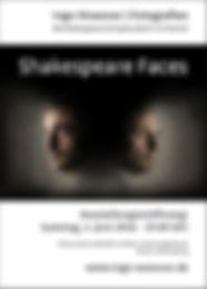 "Plakat zu meiner Ausstellung ""Shakespeare Faces"" | 2016 | Berlin"