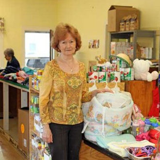 Lenchen Marnell at the Schroon Lake Food Pantry