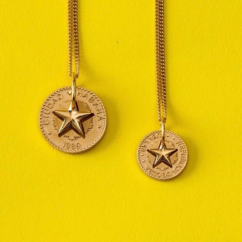 Lucky Star Necklace in Silver 925 Yellow Gold plated - (Pendant 18mm)