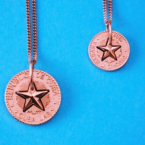 Lucky Star Necklace in Silver 925, Pink Gold 18K plated - (Pendant 18mm)