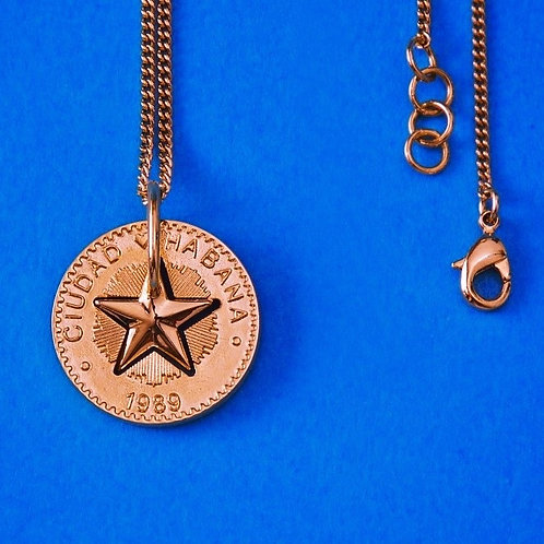 Lucky Star Necklace in Silver 925, Pink Gold 18K plated - (Pendant 24mm)