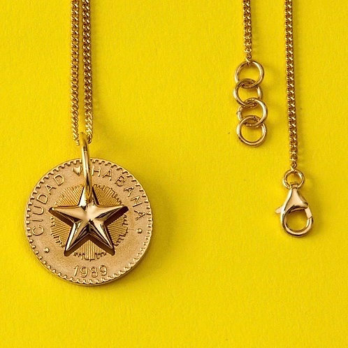 Lucky Star Necklace in Silver 925 Yellow Gold plated - (Pendant 24mm)