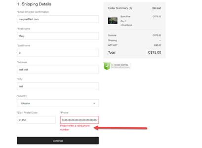 Поле проверки номера телефона в форме подтверждения заказа в интернет-магазине Wix Stores