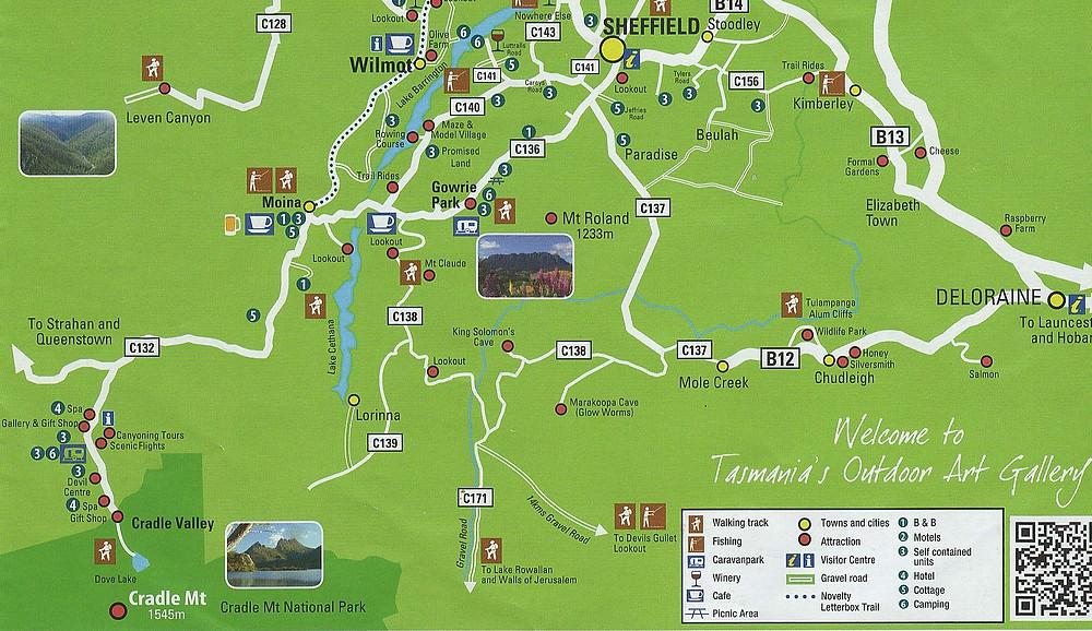 Карта Шеффлда и окрестностей — Тасмания 2018 — Блог о путешествиях Сергея Чеботова