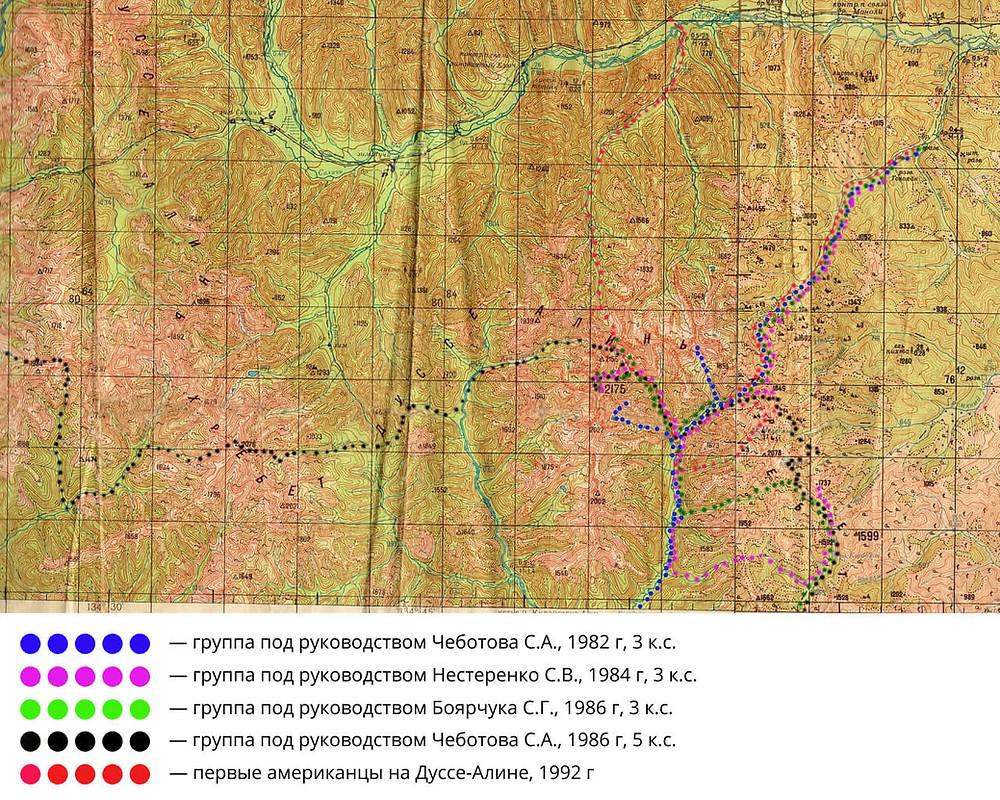 """Маршруты, пройденные группами т.к. """"Фортуна"""" в районе хребта Дуссе-Алинь:"""