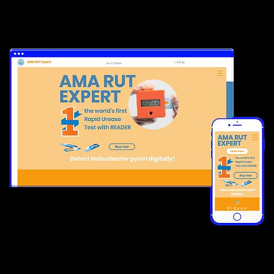 AMA RUT Expert. Мультиязычный лендинг медицинского оборудования.