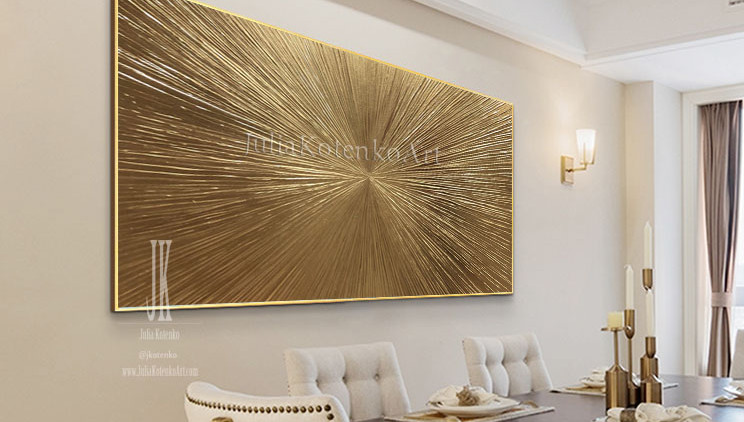 Gold Painting, Large Texture Painting, Gold paintings on canvas