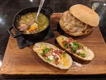 Hot Hawaiian Sandwich + Itallian Wedding Soup + Loaded Potato Skins