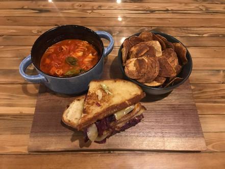 Vegetable Reuben + Chips + Itallian Sausage Soup