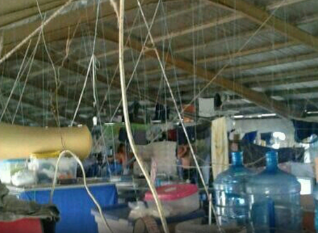 International Prisoners forced to construct make-shift beds using discarded timber and rice sacks!