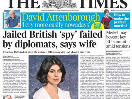 2018 - Embassies fail to protect UK citizens abroad in favour of trade! The FCO is limp & weak w