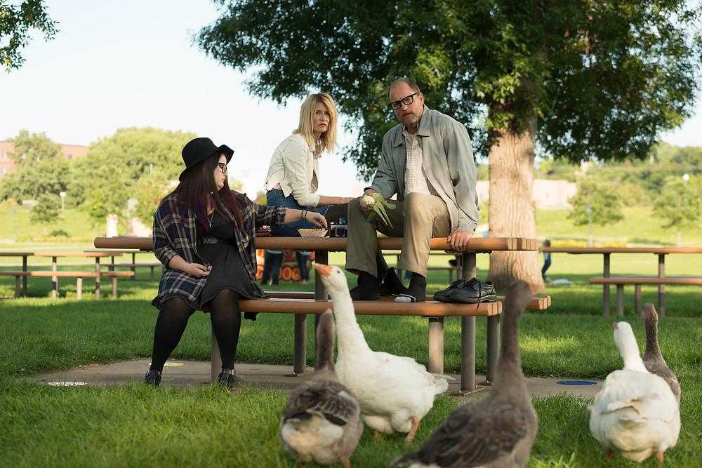 "Woody Harrelson as ""Wilson"", Laura Dern as ""Pippi"", Isabella Amara as ""Claire"" in WILSON. Photo by Wilson Webb. © 2017 Twentieth Century Fox Film Corporation All Rights Reserved."
